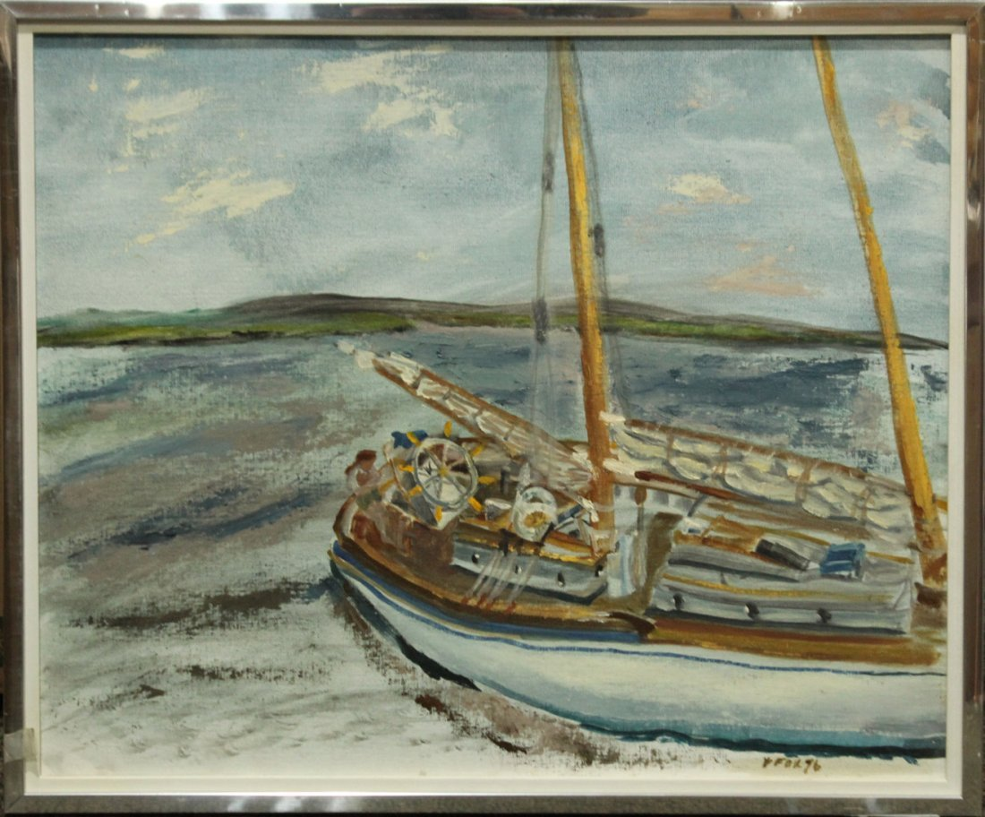 WILLIAM F FOX , Oil Painting Titled TALL SHIP II