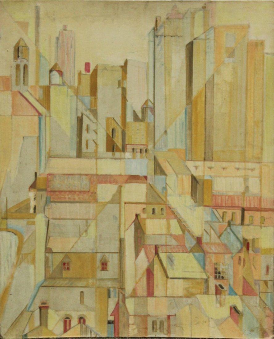MID CENTURY MODERN INDUSTRIAL CITYSCAPE OIL/B