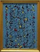 MID CENTURY MODERN DRIP ART ABSTRACT PAINTING BLUE