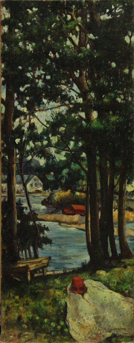 CIANERONE, Circa 1930 Oil/b LANDSCAPE LAKE SHORE