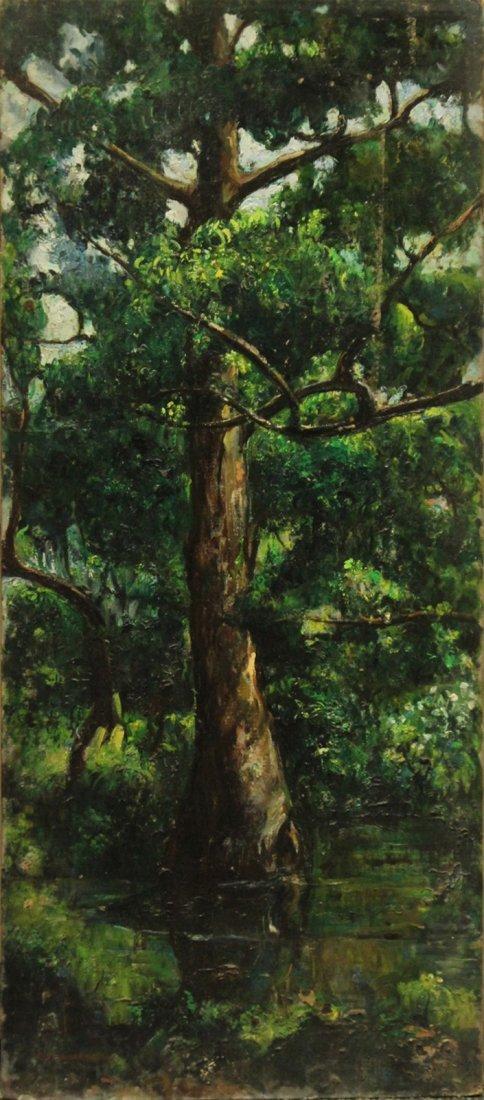CIANERONE, Circa 1930 Oil/b LANDSCAPE WITH TREE