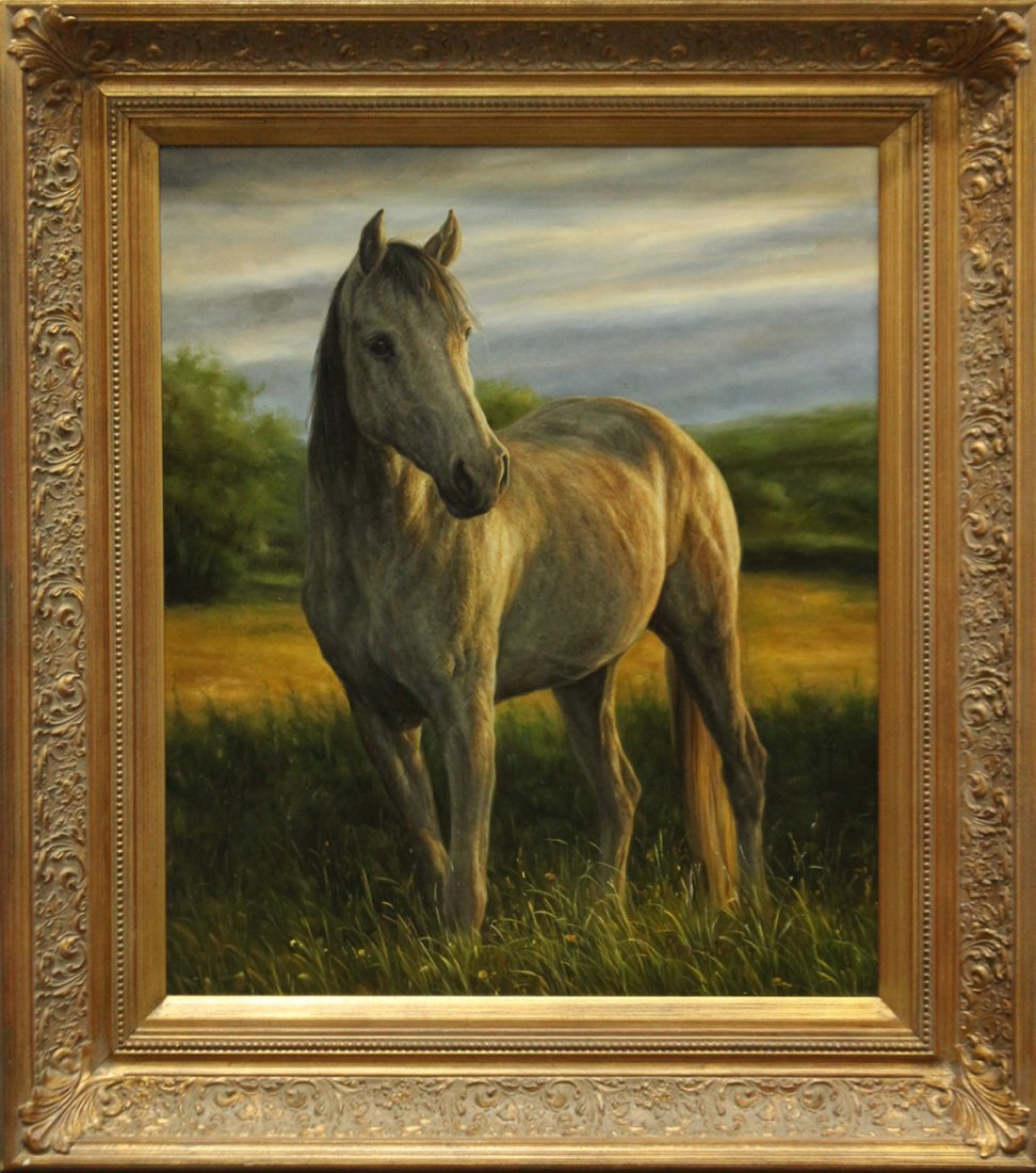20th C. Decorative HORSE PAINTING, QUALITY GOLD FRAME
