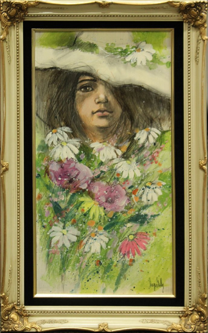 GEORGE SHELLY oil/b PORTRAIT GIRL AMONGST FLOWERS