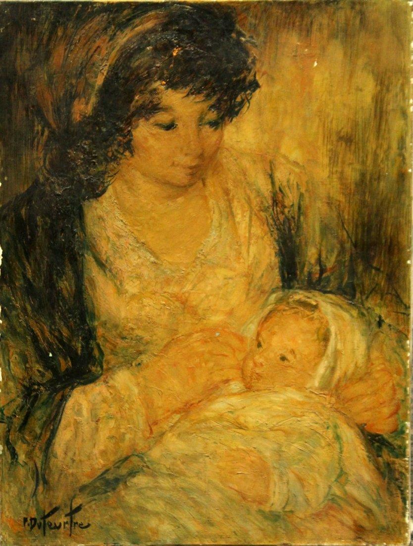 Pierre Eugène Duteurtre  (1911 - 1989) Oil MOTHER CHILD