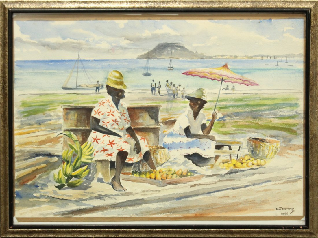 E T HENRY 1965 Watercolor LATIN AMERICAN FRUIT SELLERS