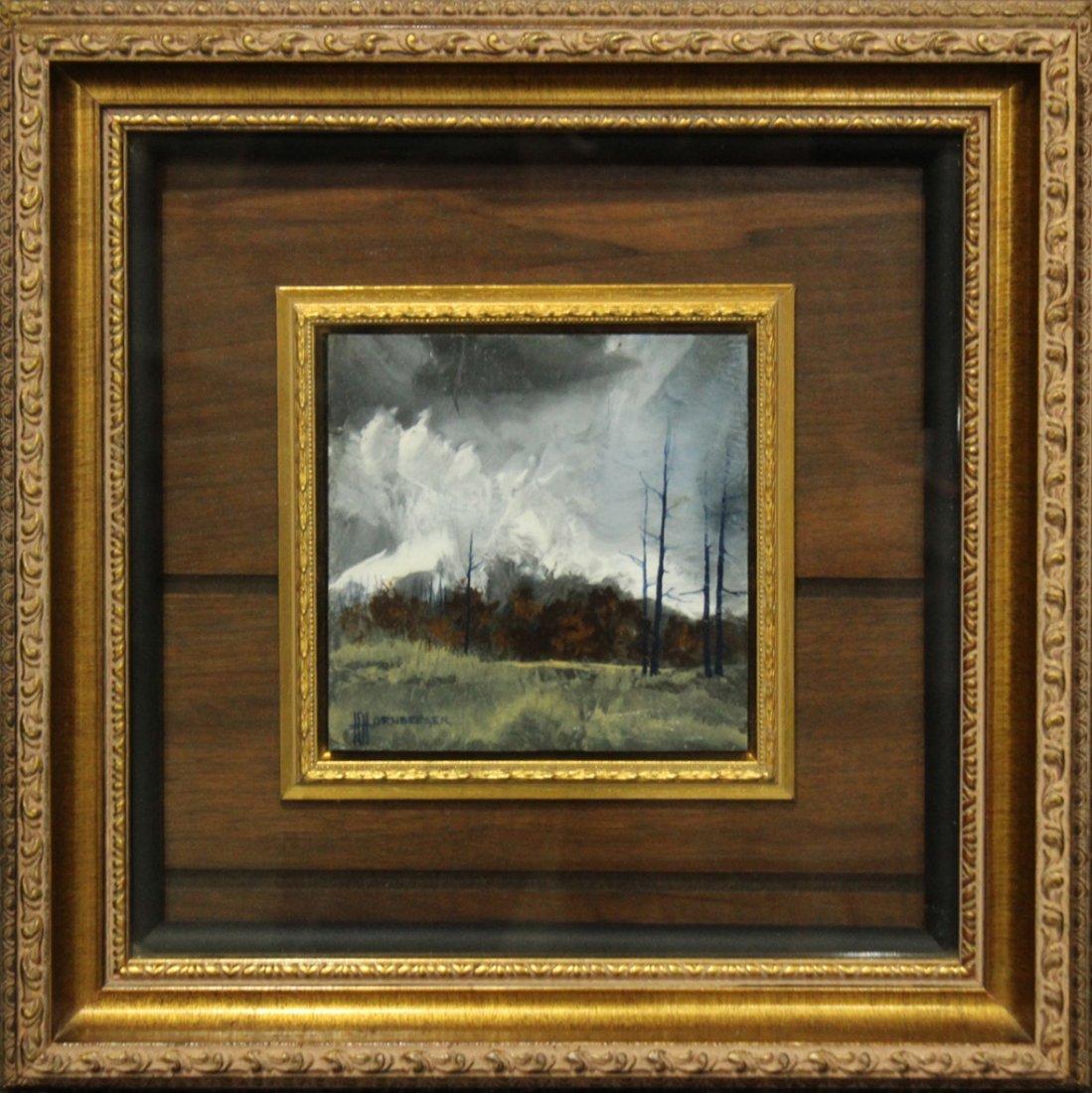Don Hornberger 1921-2006 Oil Painting Storm Over Forest
