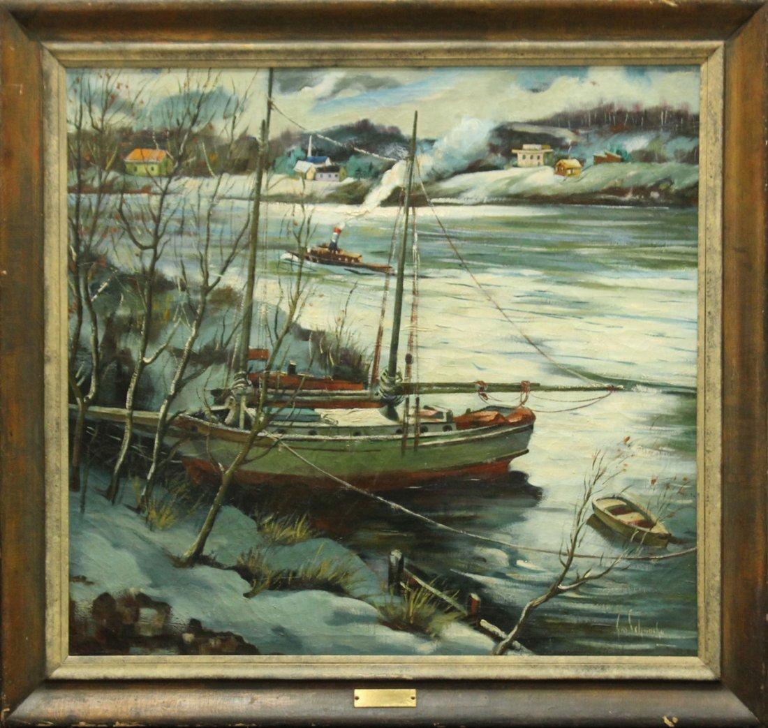 George Schwacha Jr  (1908 - 1986) BOATS DELAWARE WINTER