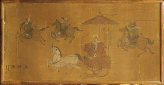 IMPORTANT 19th C LARGE CHINESE PAINTING ON BOARD Signed