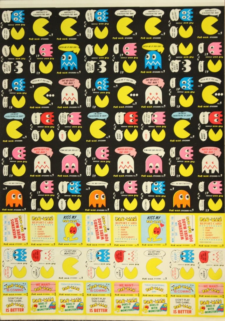 ORIGINAL PAC MAN Uncut Sheet TRADING CARDS