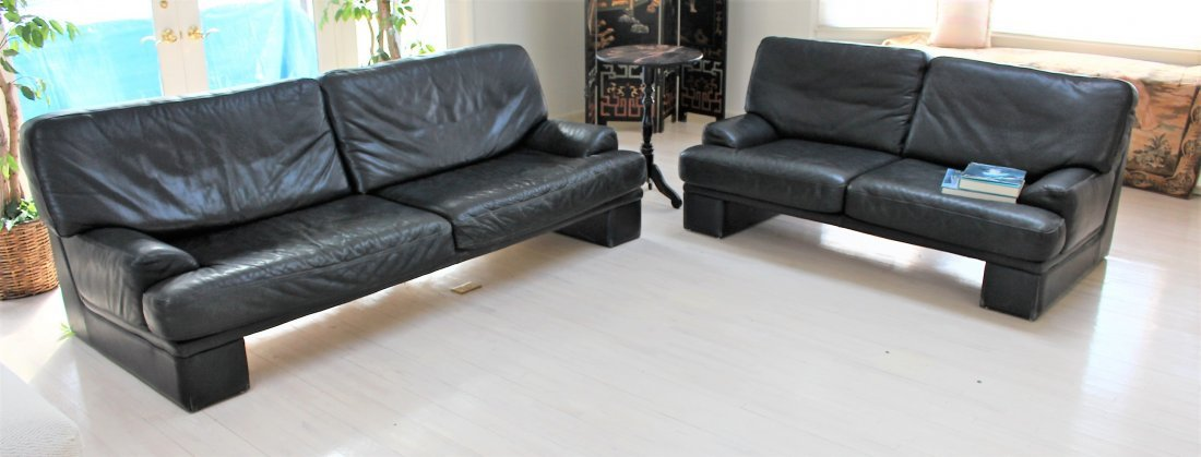 3 PIECE BLACK LEATHER COUCH, LOVE SEAT, OTTOMAN
