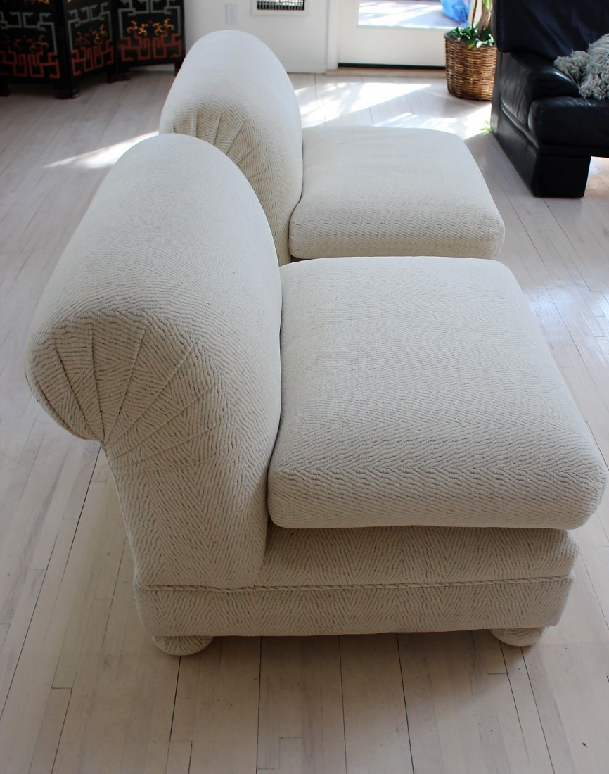 PAIR DESIGNER WHITE TWEED UPHOLSTERED CLUB CHAIRS