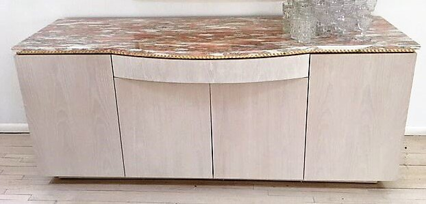 MODERN DESIGN SIDEBOARD WITH ROSE MARBLE TOP