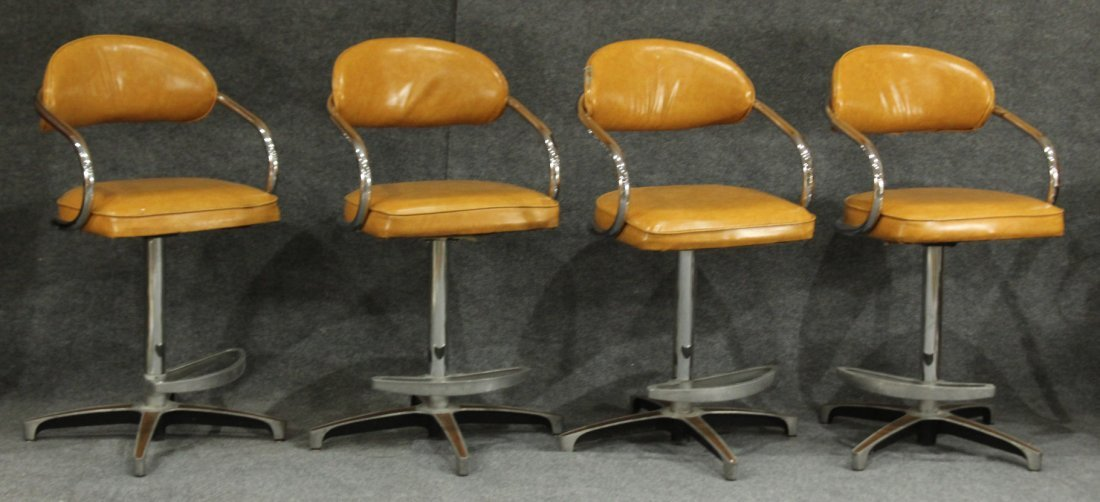 CHROMCRAFT SET OF 4 MID CENTURY BAR STOOLS