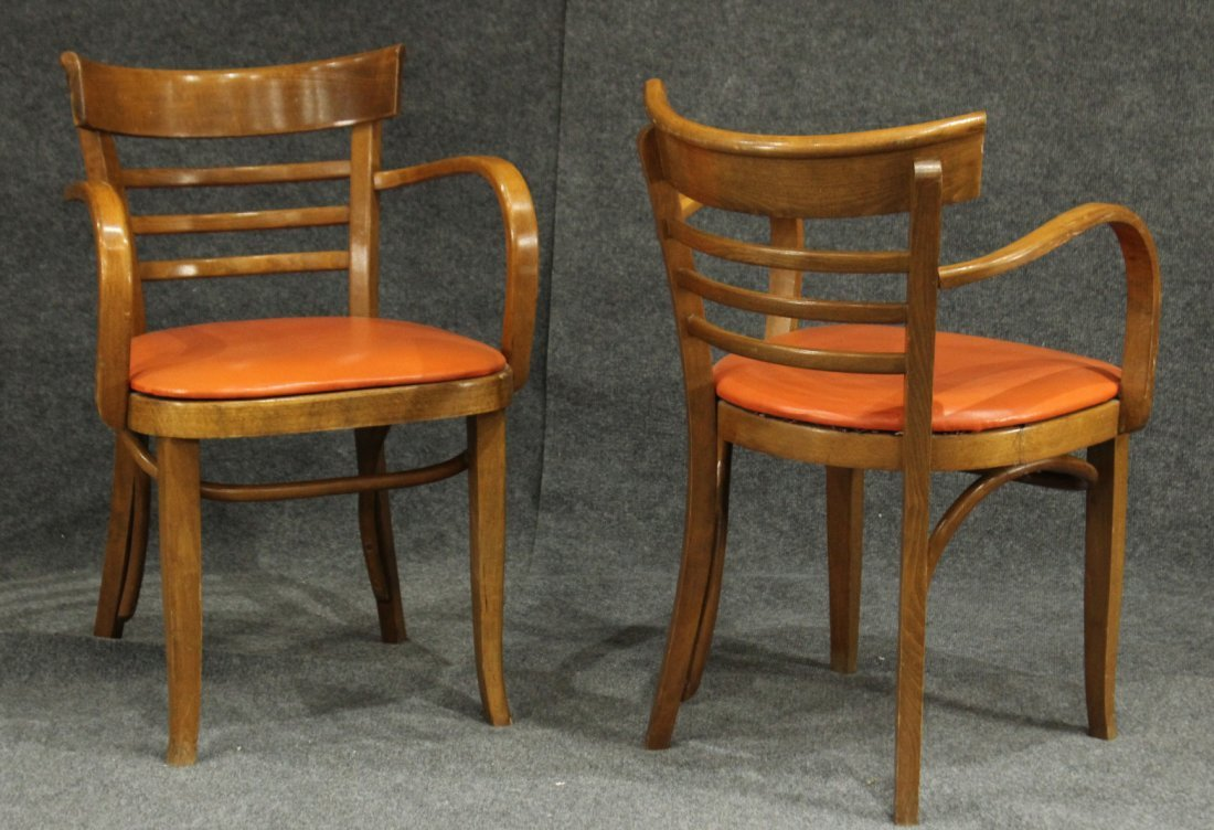 THONET Attributed PAIR MID CENTURY BLOND WOOD ARMCHAIRS