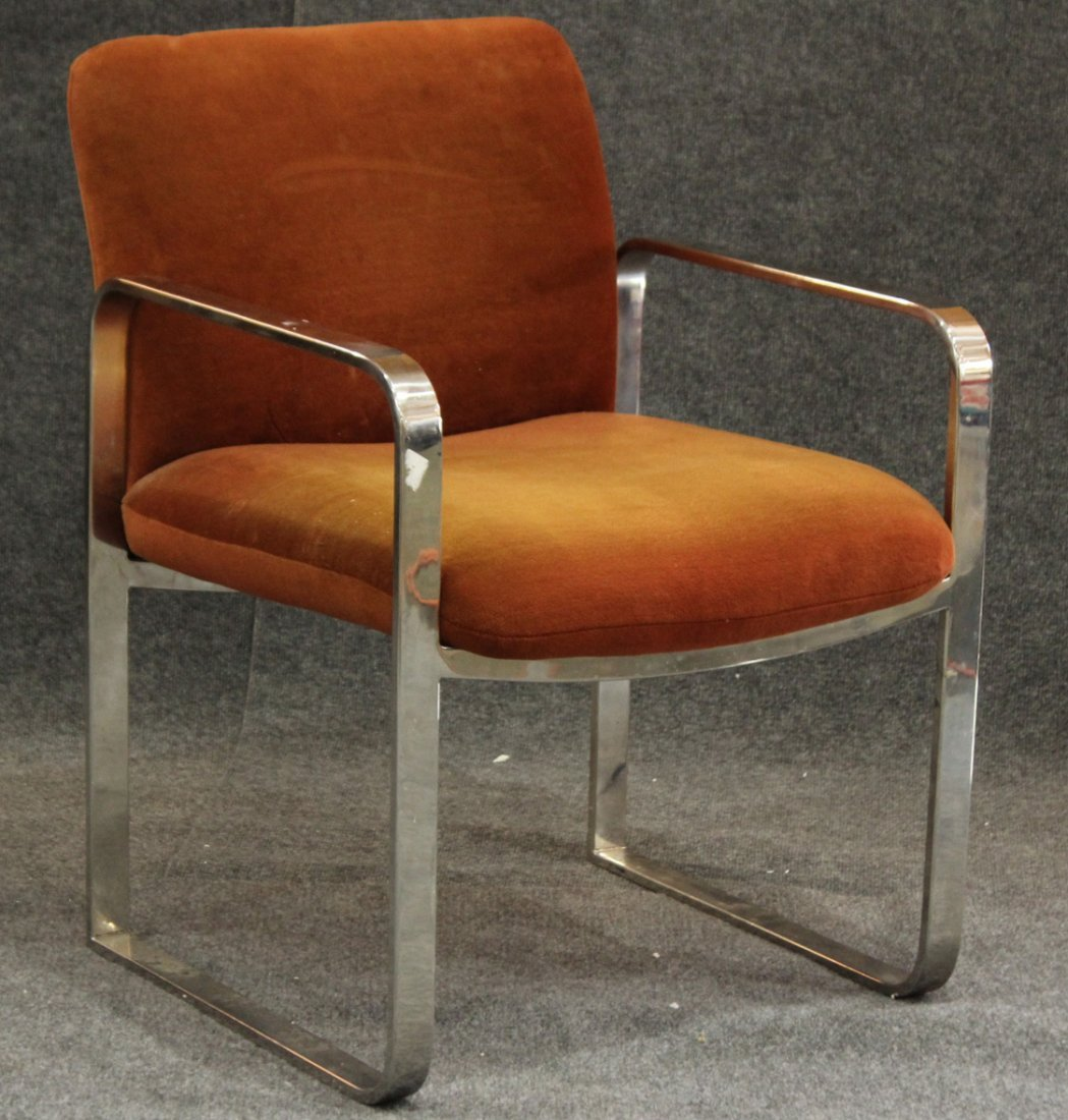 MILO BAUGHMAN CHROME FLAT BAR ARM CHAIR
