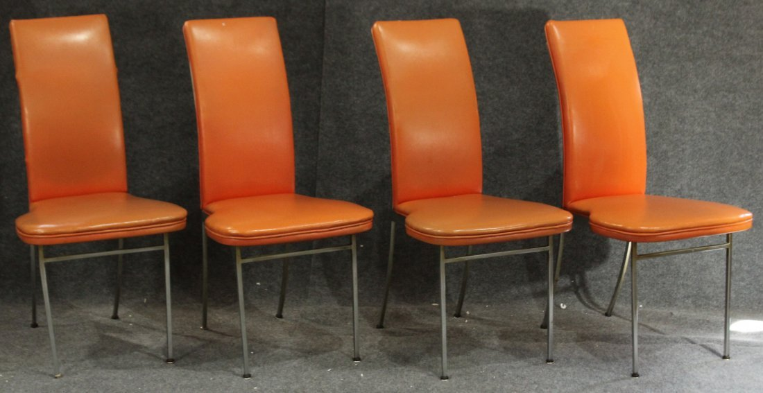 4 MID CENTURY ITALIAN DESIGN ORANGE HIGH BACK CHAIRS