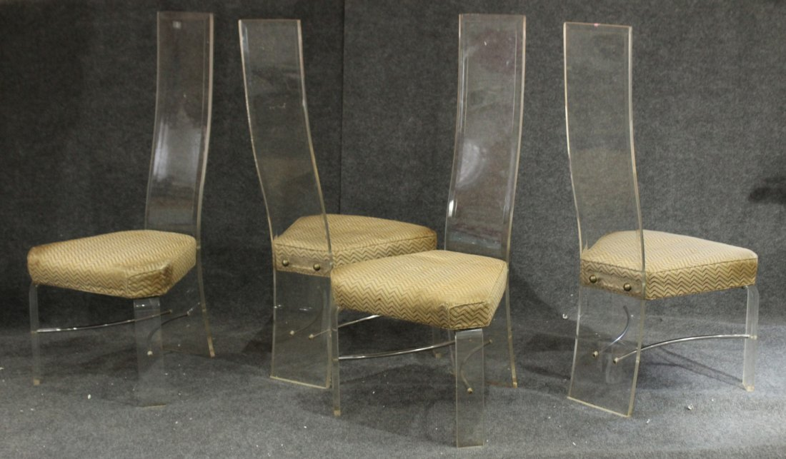 SET 4 CLEAR BEVELED LUCITE HIGH BACK DINING CHAIRS