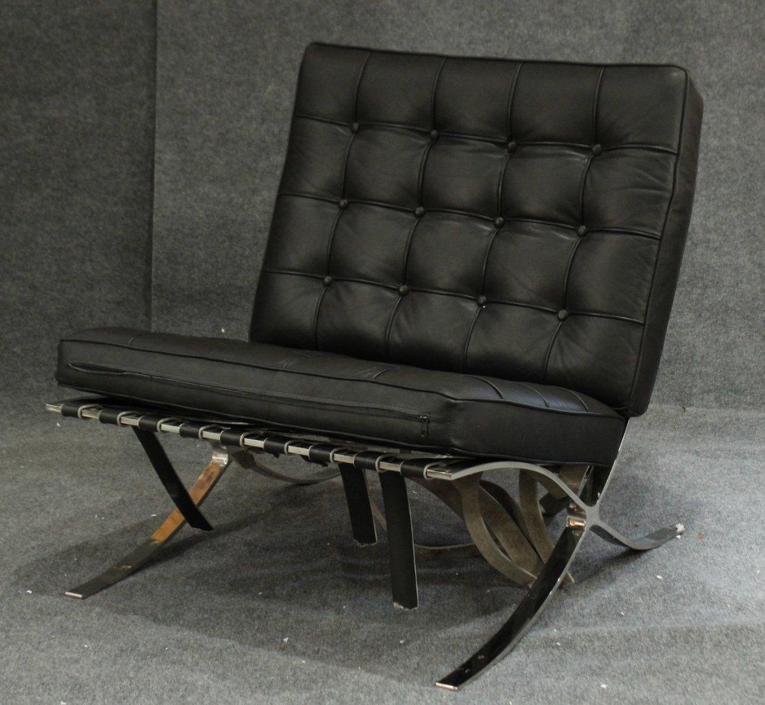 BARCELONA CHAIR Black Leather Miles Van Der Rhoe Style