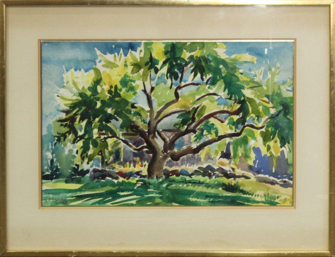 LILLIAN LOOMIS, watercolor TREE IN SUMMER LANDSCAPE