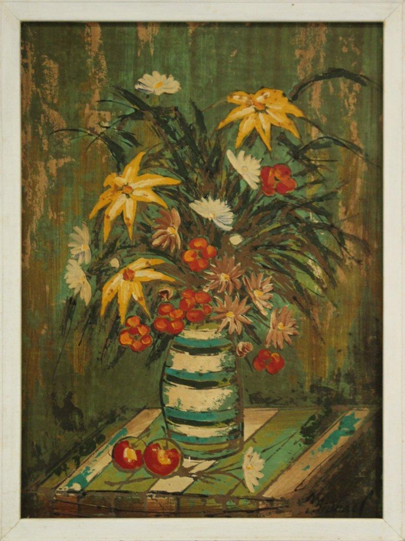 MICHAEL, Mid Century Modern STILL LIFE FLOWERS IN VASE