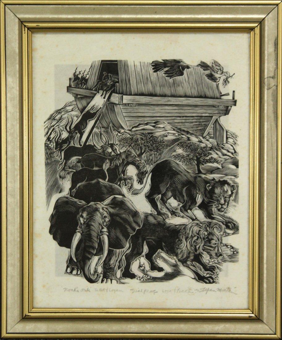 STEFAN MARTIN Listed Artist, Lithograph NOAHS ARK