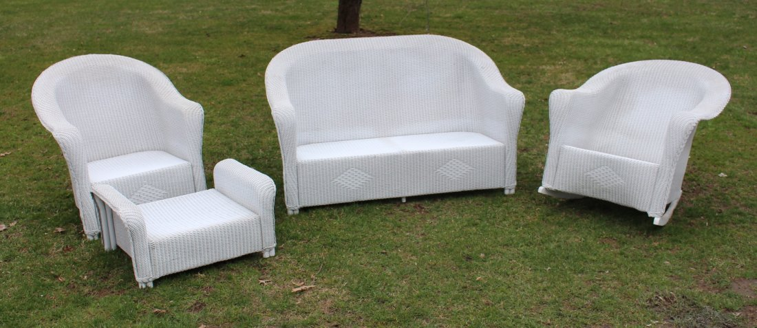 4-PIECE WHITE WICKER SET, COUCH, CHAIR, ROCKER, OTTOMAN