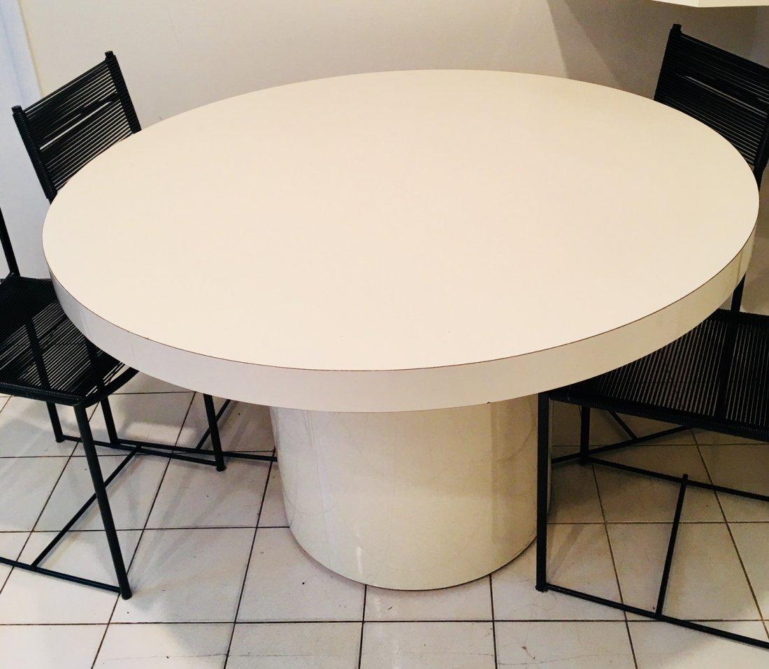 MILO BAUGHMAN Style ROUND WHITE FORMICA PEDESTAL TABLE
