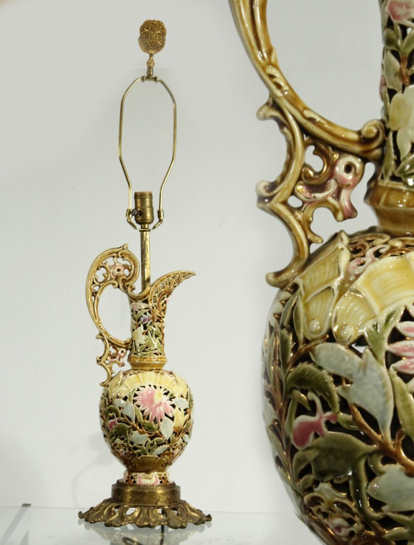 FISCHER ART POTTERY LAMP - Ewer - Reticulated All Over