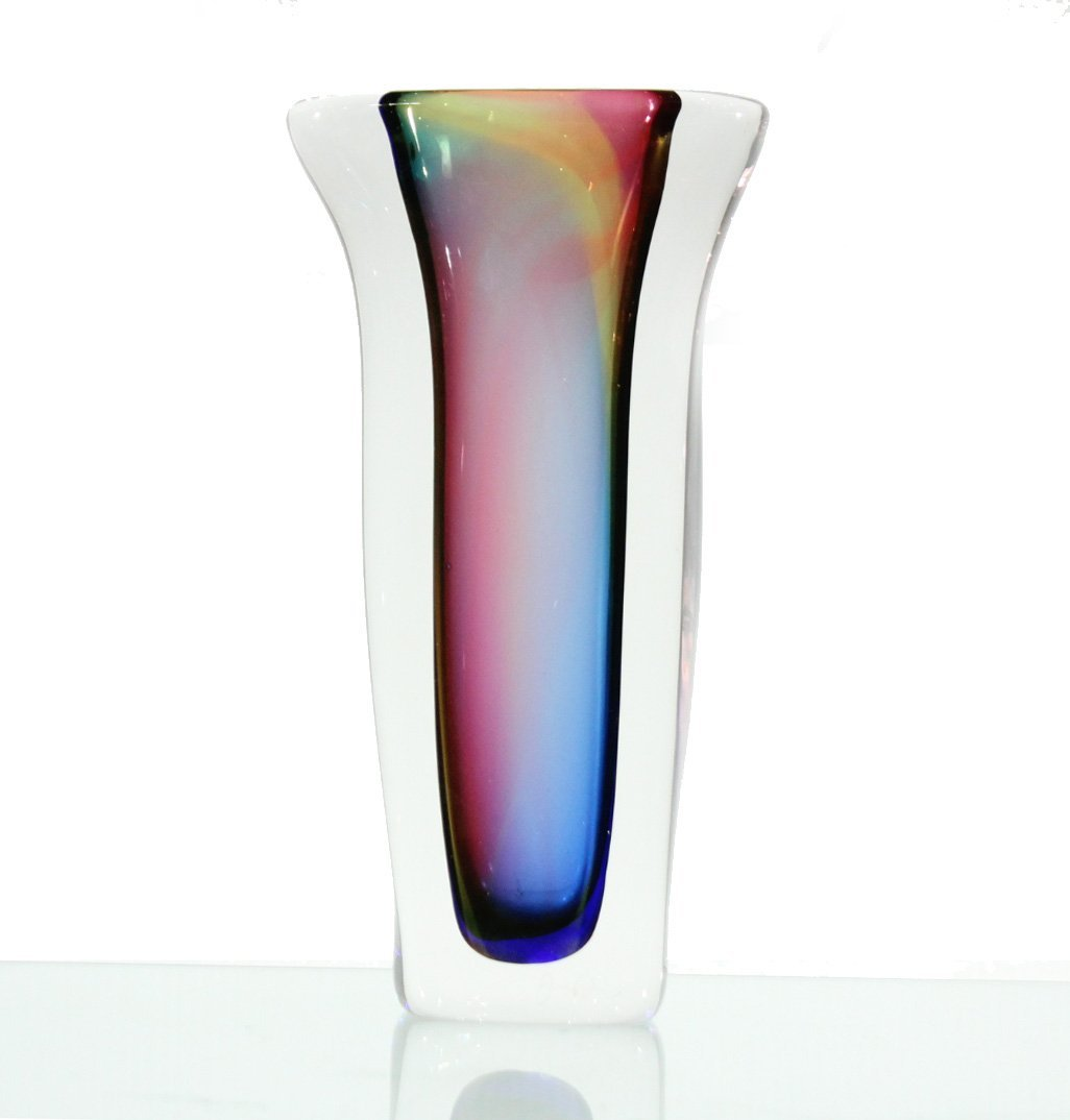 High Quality ITALIAN GLASS VASE INTERNAL COLORS, SIGNED