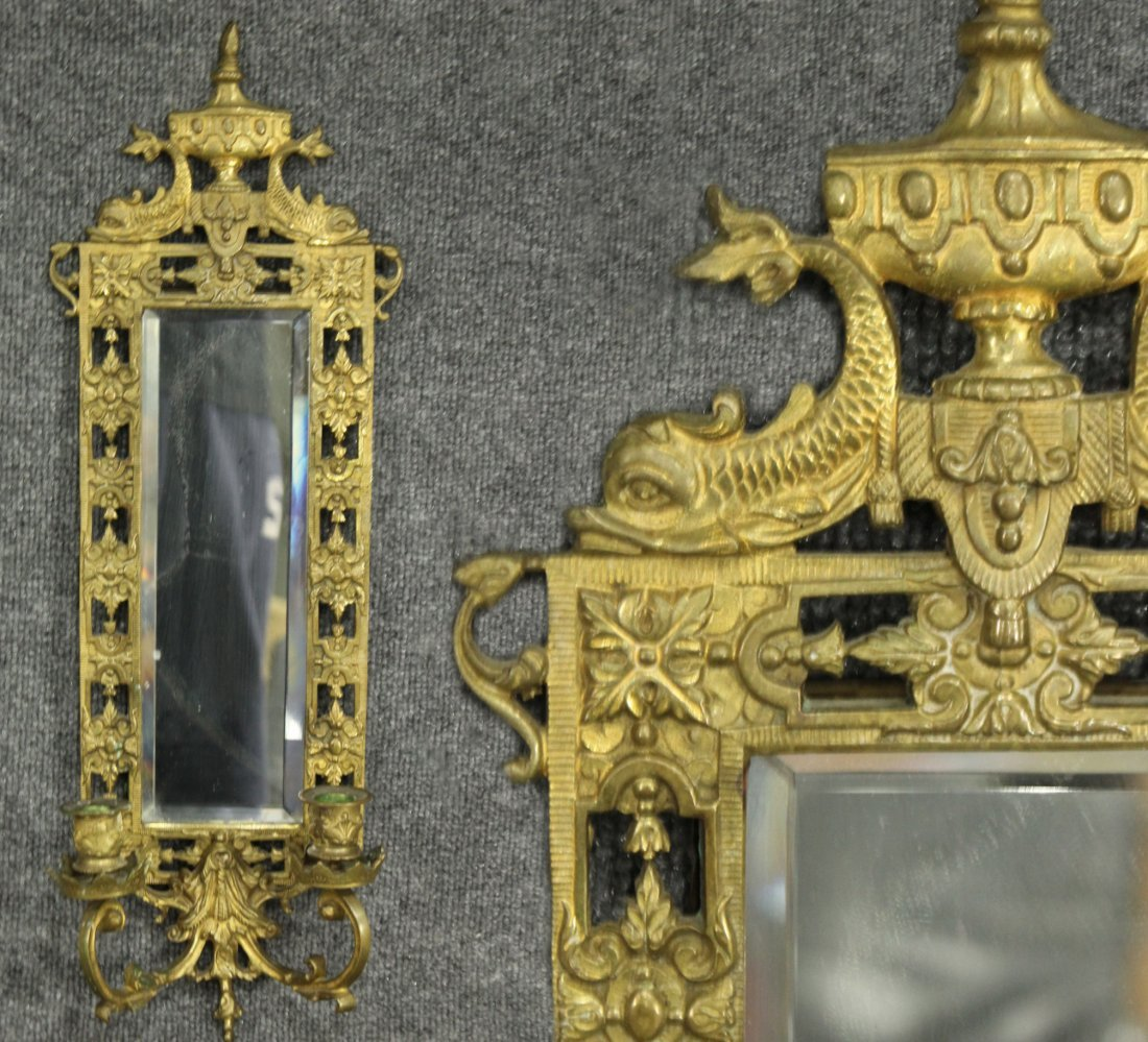 Ornate Victorian CAST BRASS WALL MIRROR SCONCE