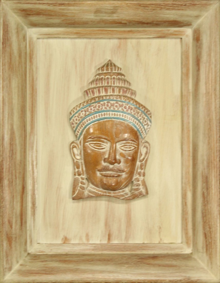 1950s Mid Century Framed Wood Mayan Head In Relief
