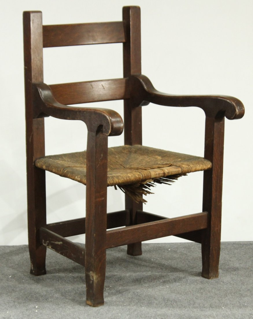 ARTS AND CRAFTS MISSION OAK MASCULINE ARM CHAIR