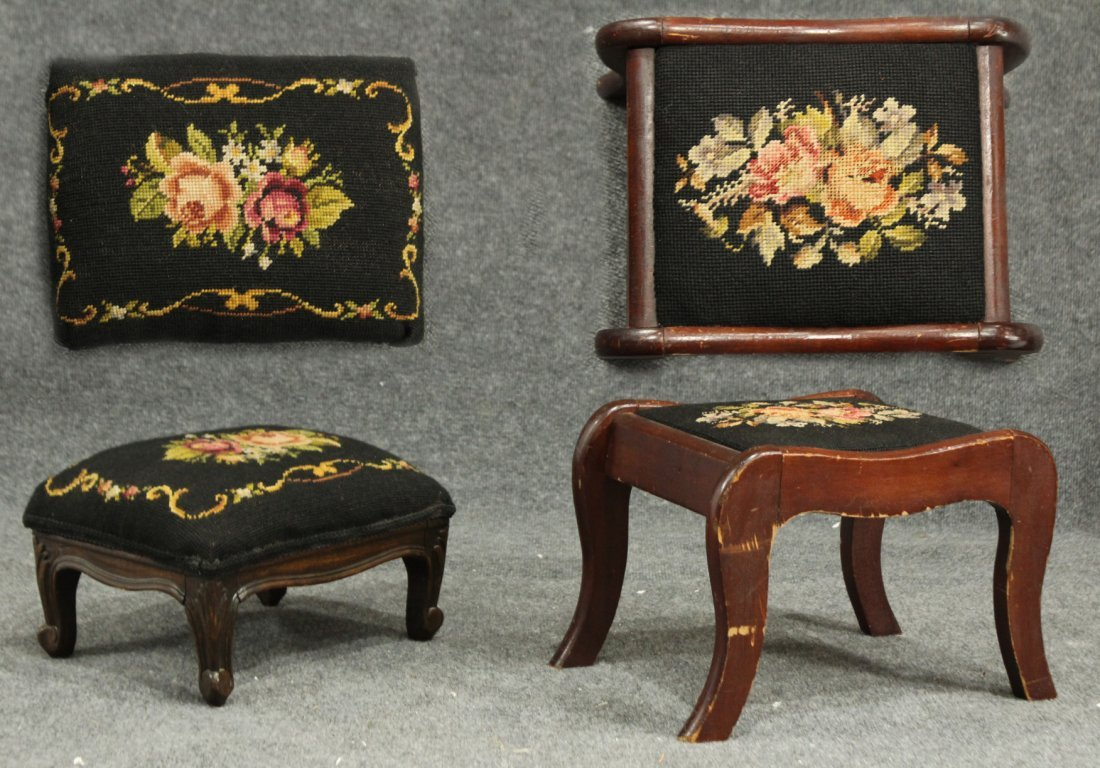 TWO [2] SMALL VINTAGE NEEDLEPOINT TOP FOOTSTOOLS