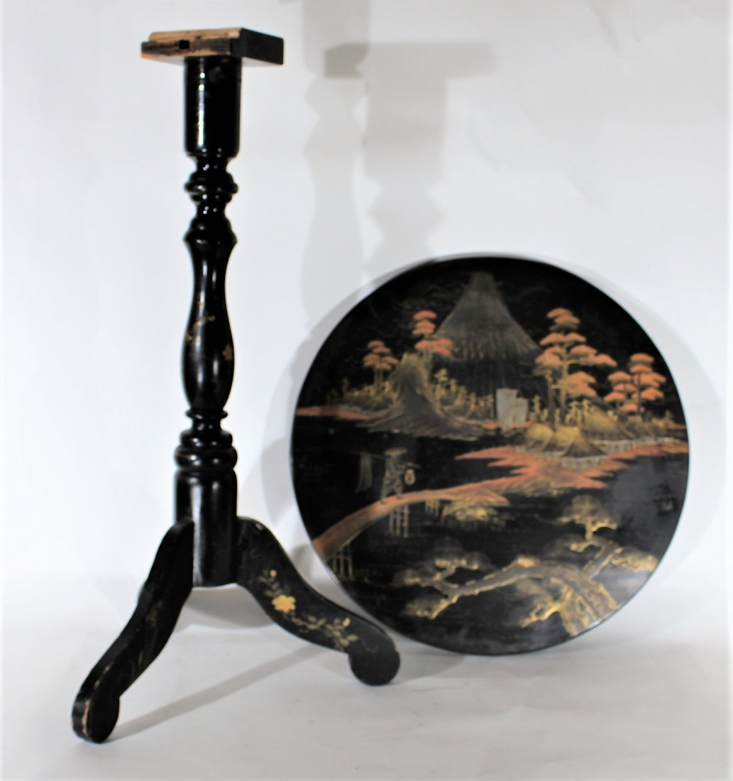 ORIENTAL BLACK LACQUERED TILT TOP STAND Needs Repair