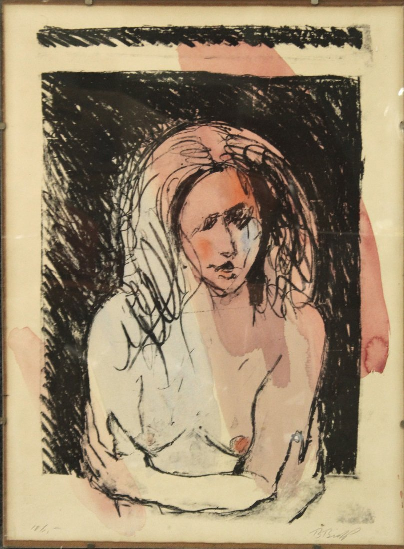B BISHOP Lithograph #10 of 15 Ed. TOPLESS GIRL PORTRAIT