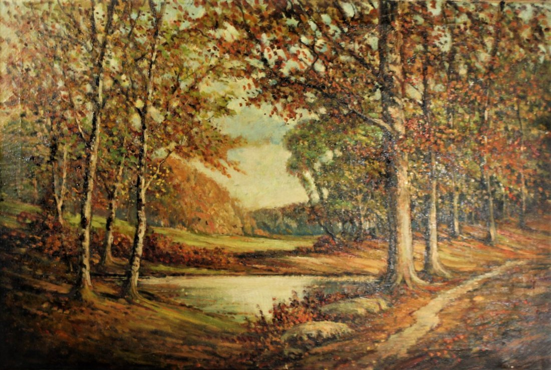 Circa 1940 AMERICAN AUTUMN LANDSCAPE OIL ON CANVAS