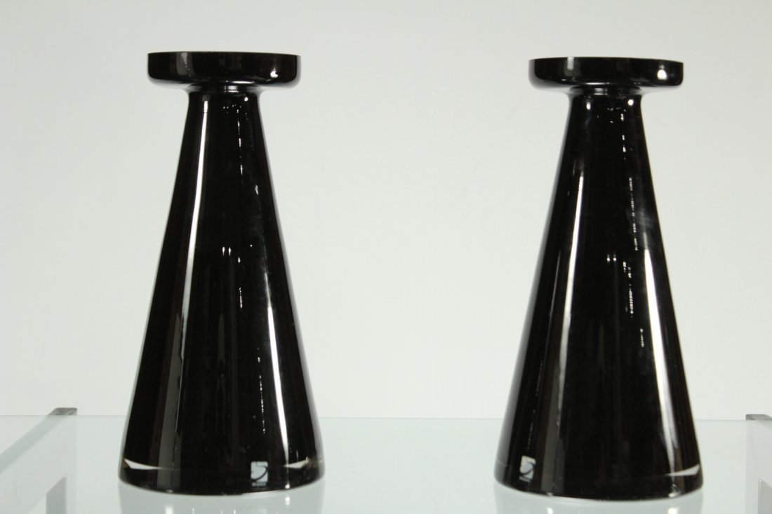 Pair MID CENTURY MODERN AMETHYST GLASS CONE VASES