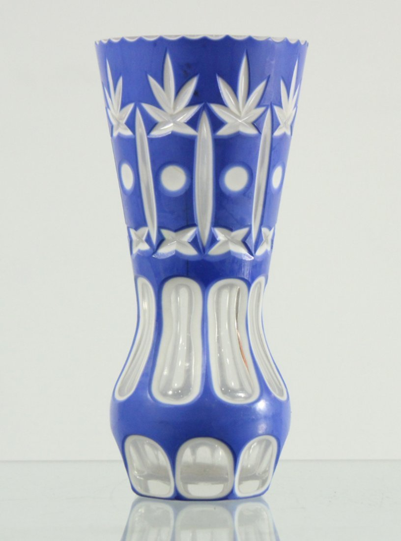 Bohemian 3 color cut to clear glass vase