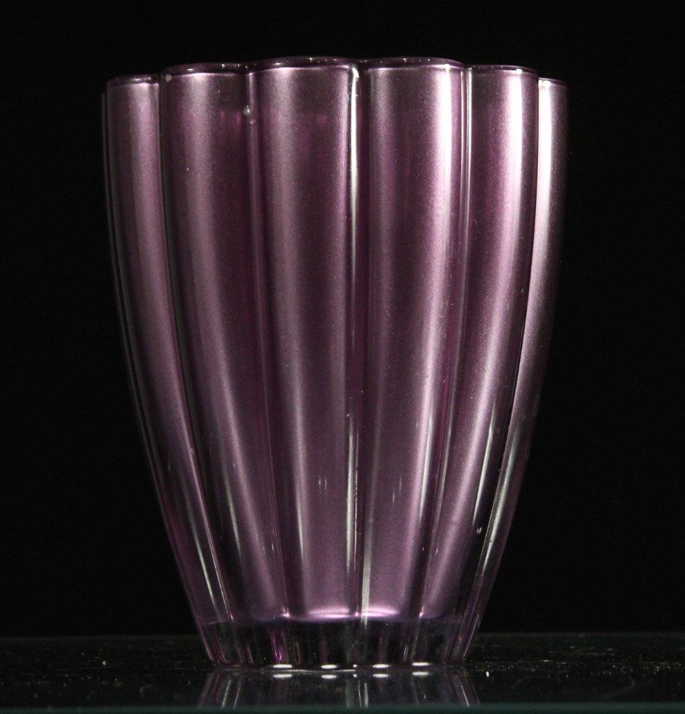 MID CENTURY MODERN LAVENDER RIBBED GLASS VAS