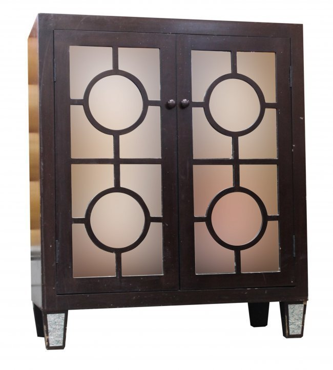 ART DECO 2 DOOR BOOKCASE CABINET CIRCLE DOORS
