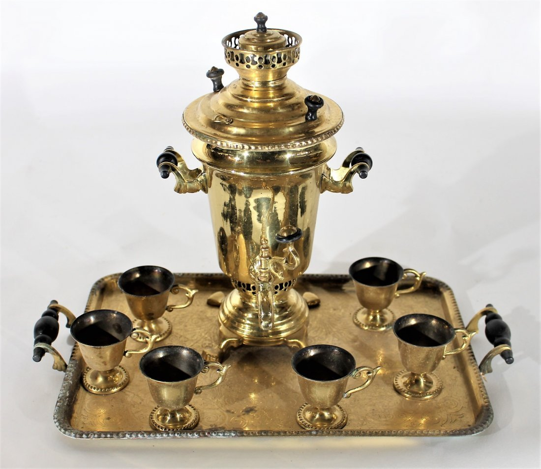 8-PIECE BRASS RUSSIAN SAMOVAR SET WITH TRAY