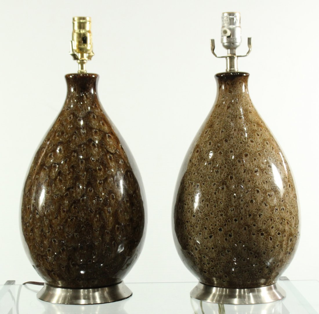 Pair Mid Century Design Glazed Brown Ceramic Table Lamp