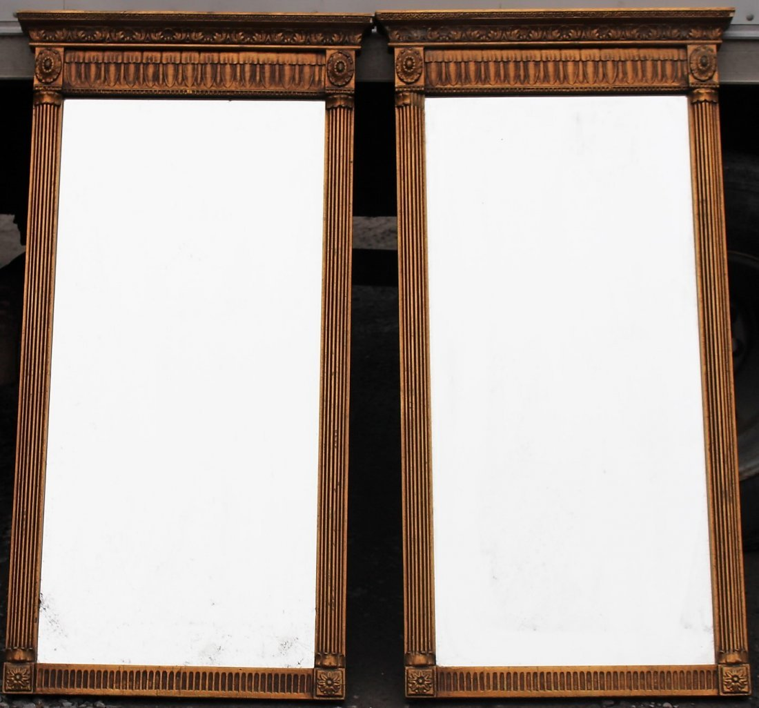 Pair CLASSICAL FEDERAL STYLE GOLD FRAME MIRRORS