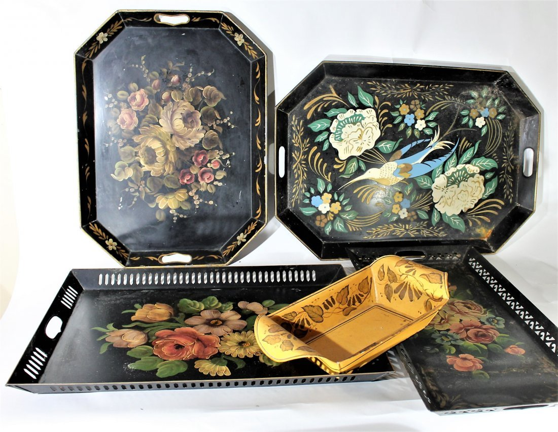 Assorted Grouping 5 TOLEWARE TRAYS Hand Painted