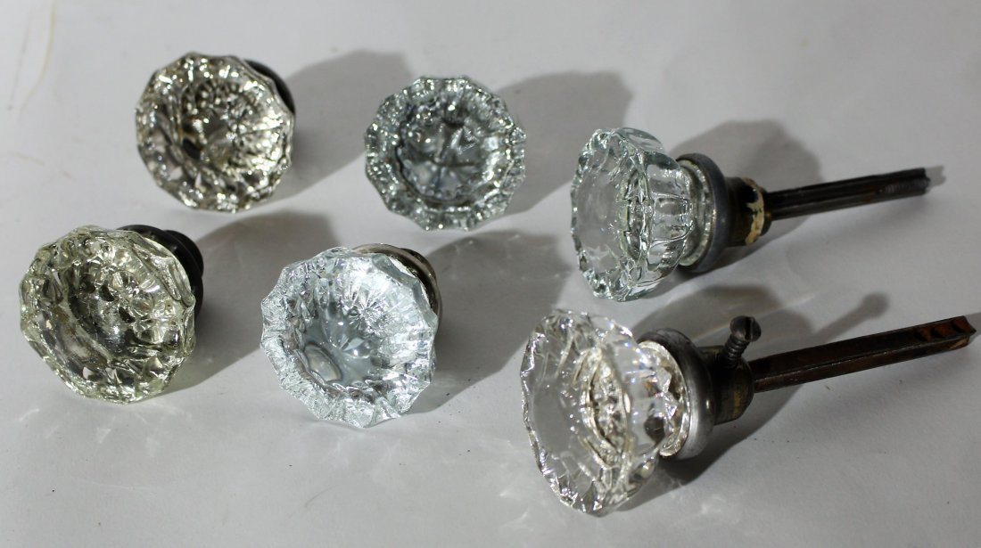 3-Pair ARCHITECTURAL FACETED GLASS DOOR KNOBS
