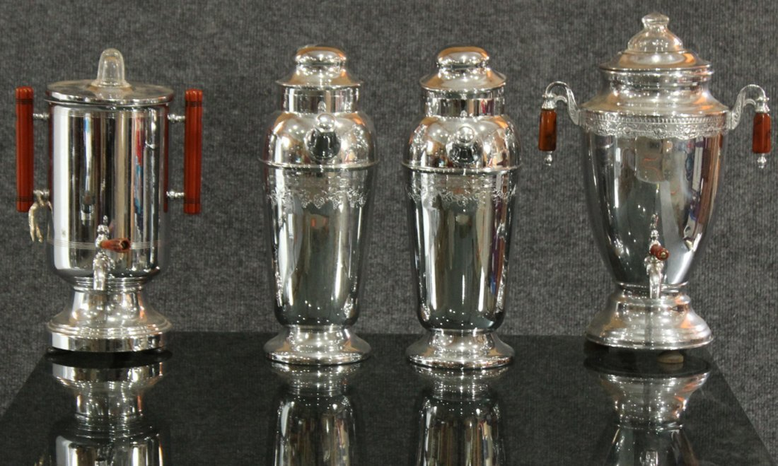 4 ASSORTED ART DECO CHROME BAKELITE COFFEE POTS SHAKERS