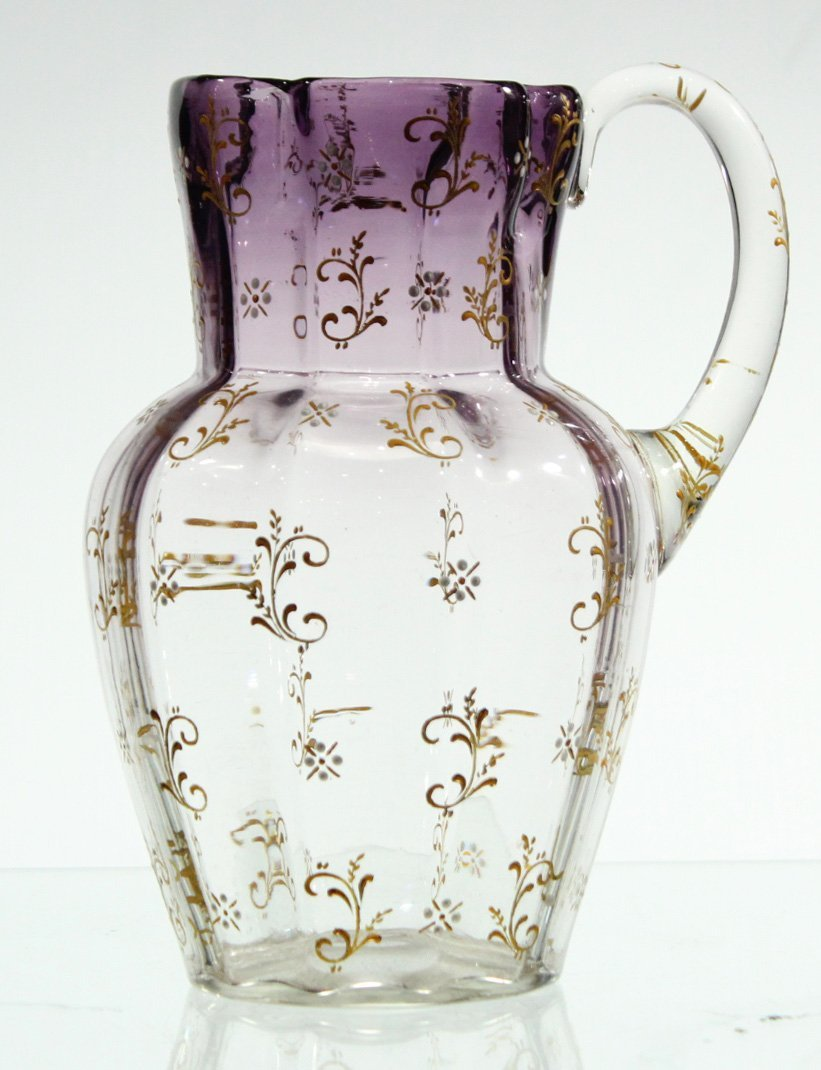 VICTORIAN GLASS WATER PITCHER LAVENDER TO CLEAR, ENAMEL