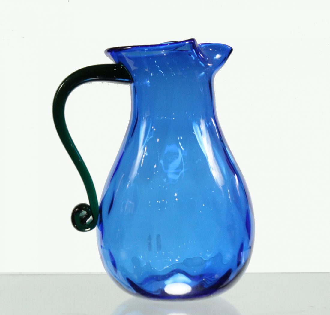 Mid-century modern hand blown water pitcher