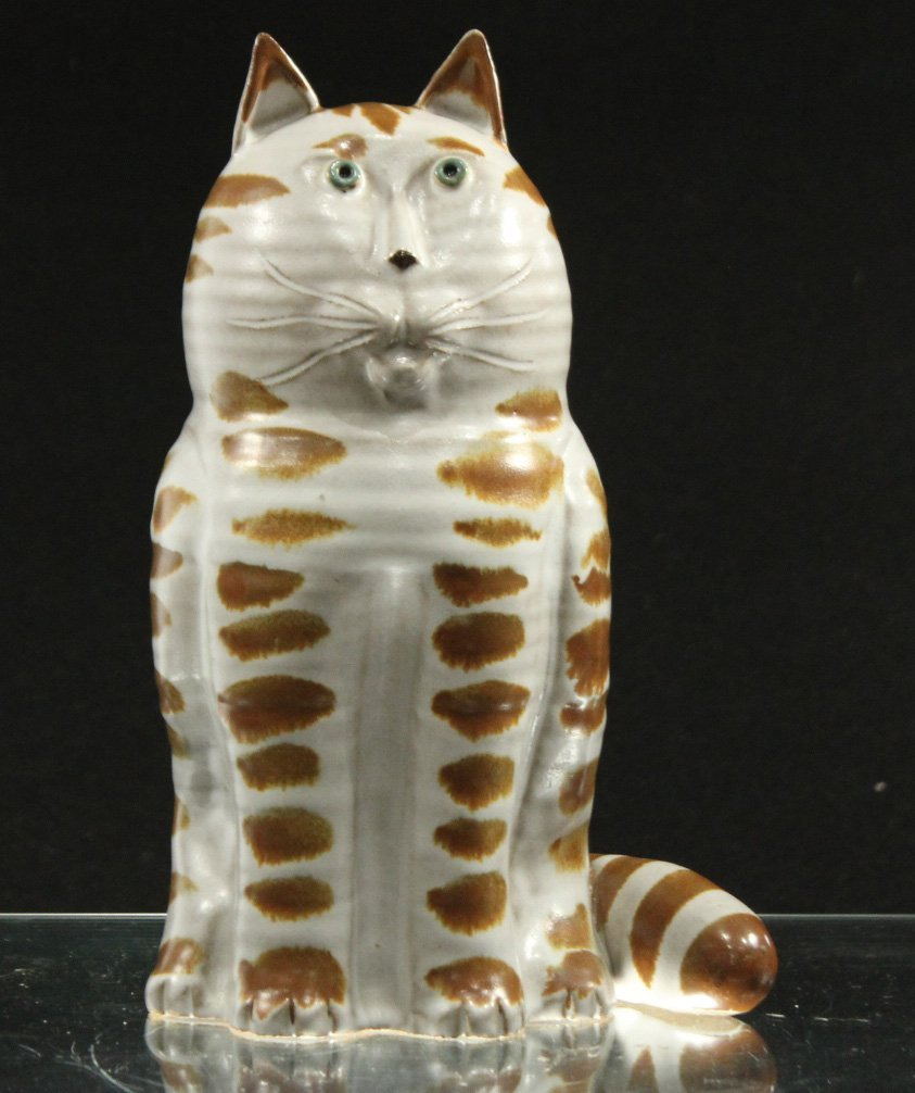 CAT FIGURE - STUDIO GLAZED POTTERY - SIGNED