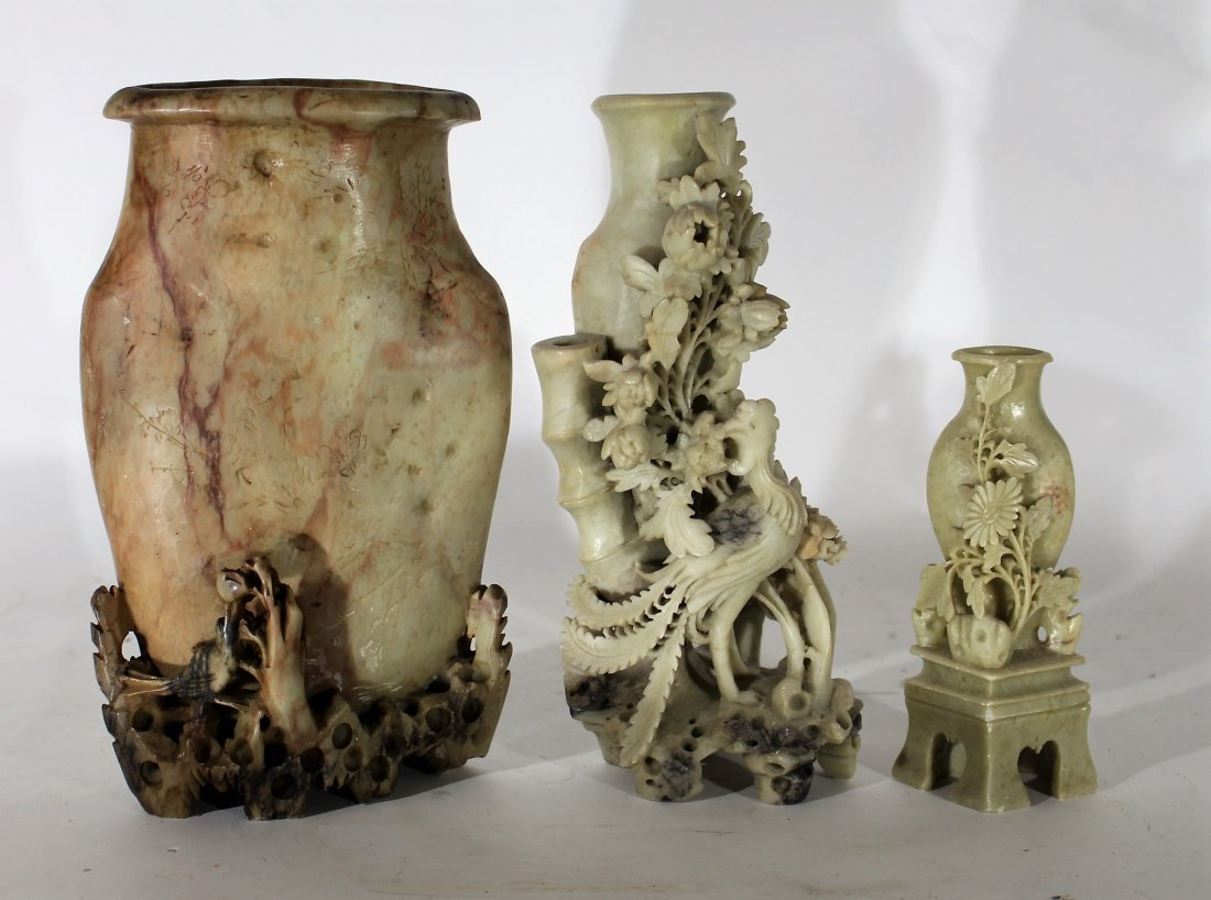 3 ASSORTED ANTIQUE CARVED SOAPSTONE ORIENTAL VASES